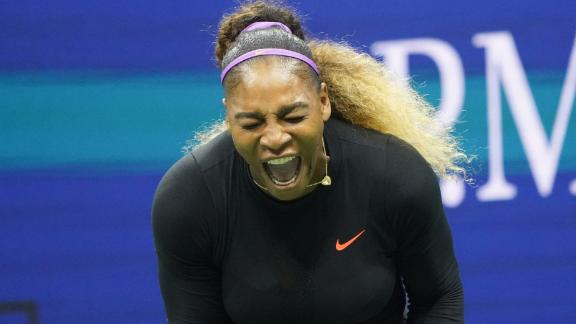 Serena Williams of the US shouts during Round Two Women's Singles match of the 2019 US Open against Caty McNally of the US at the USTA Billie Jean King National Tennis Center in New York on August 28, 2019. (Photo by Don EMMERT / AFP)        (Photo credit should read DON EMMERT/AFP/Getty Images)