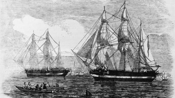 1845:  The ships HMS Erebus and HMS Terror used in Sir John Franklin