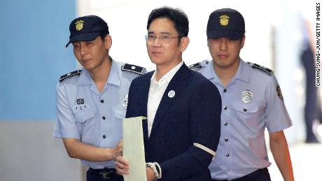 Lee Jae-yong, Samsung Group heir arrives at Seoul Central District Court to hear the bribery scandal verdict in this file photo from August 25, 2017 in Seoul, South Korea.