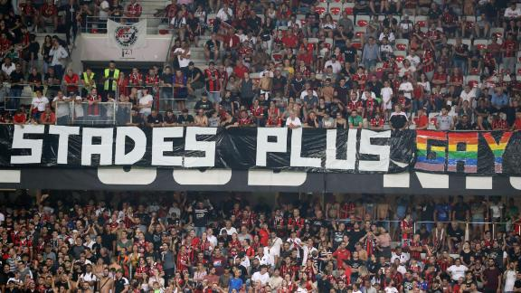 Nice supporters unfurled several banners at the game with Marseille.