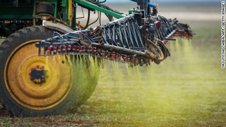 Herbicide sprayed on a soybean field in the Cerrado Plain near Campo Verde, Mato Grosso State. The neighboring Pantanal area, a biodiversity reserve, is currently threatened by intense cultivation of soybeans and deforestation, scientists said.