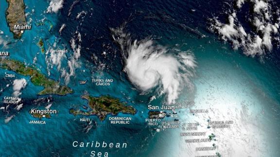 A satellite image shows Hurricane Dorian shortly after 11 a.m. ET Thursday.