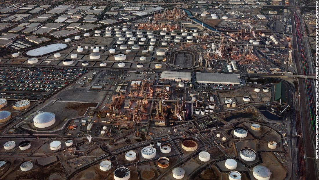 "Oil refineries are seen in Carson, California, in this 2017 photo taken by <a href=""https://www.edwardburtynsky.com/"" target=""_blank"">Edward Burtynsky</a> for The Anthropocene Project, which explores how humans have contributed to climate change and the state the planet is in today. Part of <a href=""https://theanthropocene.org/"" target=""_blank"">the project</a> includes a film, ""Anthropocene: The Human Epoch,"" that opens September 25 in 100 theaters across the United States."