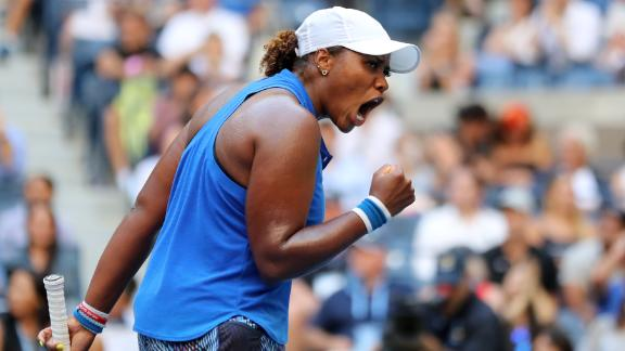 NEW YORK, NEW YORK - AUGUST 29: Taylor Townsend of the United States celebrates a point during her Women's Singles second round match against Simona Halep of Romania on day four of the 2019 US Open at the USTA Billie Jean King National Tennis Center on August 29, 2019 in Queens borough of New York City. (Photo by Elsa/Getty Images)