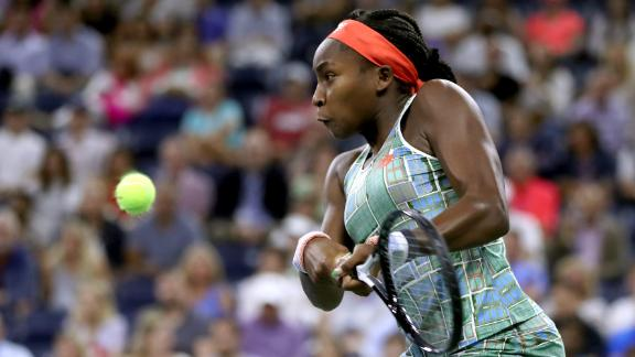 NEW YORK, NEW YORK - AUGUST 29:  Cori Gauff of the United States returns a shot during her Women's Singles second round match against Timea Babos of Hungary on day four of the 2019 US Open at the USTA Billie Jean King National Tennis Center on August 29, 2019 in Queens borough of New York City. (Photo by Matthew Stockman/Getty Images)