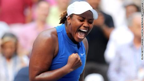 Taylor Townsend reacts after upsetting Simona Halep at the US Open Thursday.