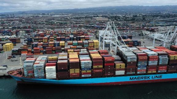 OAKLAND, CALIFORNIA - MAY 13: A container ship sits docked at the Port of Oakland on May 13, 2019 in Oakland, California. China retaliated to U.S. President Donald Trump's 25 percent tariffs on $250 billion of Chinese goods entering the United States with a 25 percent tariff on $60 billion of U.S. goods entering China. The Dow Jones Industrial Average plunged over 700 points on the news in morning trading. (Photo by Justin Sullivan/Getty Images)