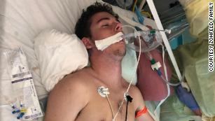 """I had multiple IVs pumping heavy medicines through both my arms,"" Tryston said."
