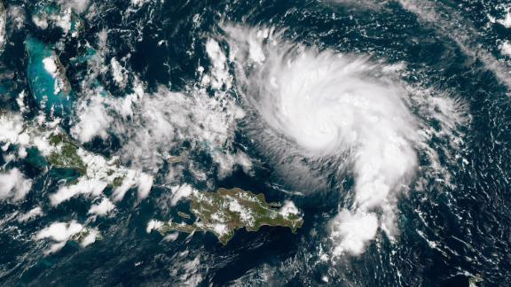 ATLANTIC OCEAN - AUGUST 29:  In this NOAA GOES-East satellite image, Hurricane Dorian leaves the Caribbean Sea and tracks towards the Florida coast taken at 18:40Z August 29, 2019 in the Atlantic Ocean. According to the National Hurricane Center Dorian is predicted to hit Florida and the northern Bahamas as a Category 3 storm, bringing heavy rains and sustained winds of 125 mph.