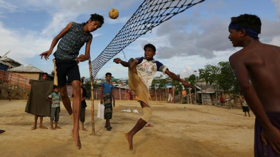 Boys play in one of the Rohingya camps in Cox's Bazar. With 912,000 Rohingya, the camps in Cox's Bazar have a greater population than San Francisco.