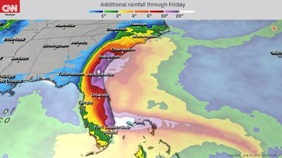 A forecast map created August 30 shows predicted rainfall accumulations through September 6.