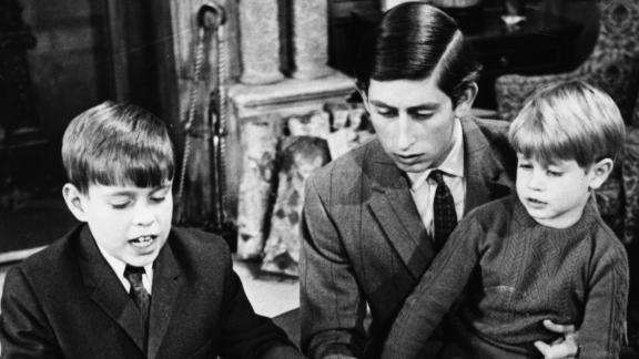 Prince Andrew (left), pictured with his brothers Charles and Edward at Sandringham in April 1969.