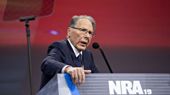 Wayne LaPierre, chief executive officer of the National Rifle Association, speaks during the NRA annual meeting of members in Indianapolis on April 27, 2019.