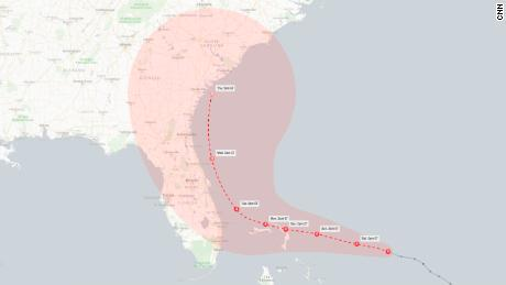 A forecast track of Hurricane Dorian as of 5 a.m. ET Saturday