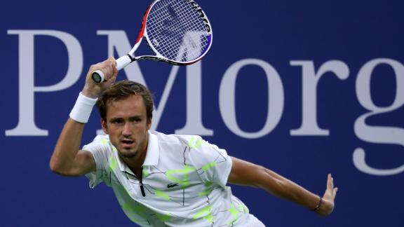 NEW YORK, NEW YORK - AUGUST 30: Daniil Medvedev of Russia returns a shot during his Men