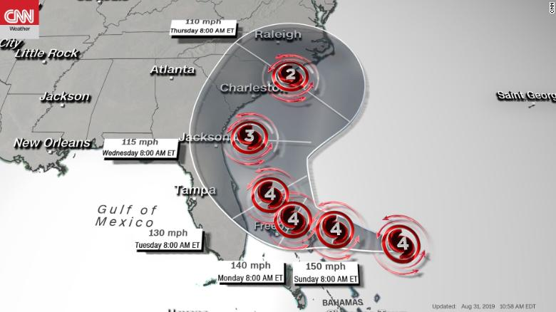 Hurricane Dorian Heading Toward Coast With 150 Mph Winds