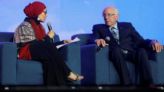US Democratic presidential candidateBernieSanders with Debbie Almontaser, founding principal of Khalil Gibran International Academy at the Islamic Society of North America's Convention in Houston, Texas.