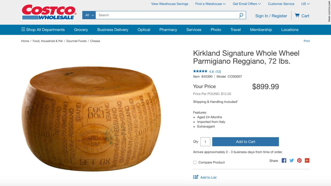 That's a real deal on a cheese wheel: Costco is selling a 72-pound wheel of Parmigiano-Reggiano