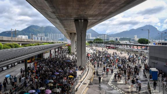 Protesters gather in the bus terminal at Hong Kong International Airport on September 1, 2019.