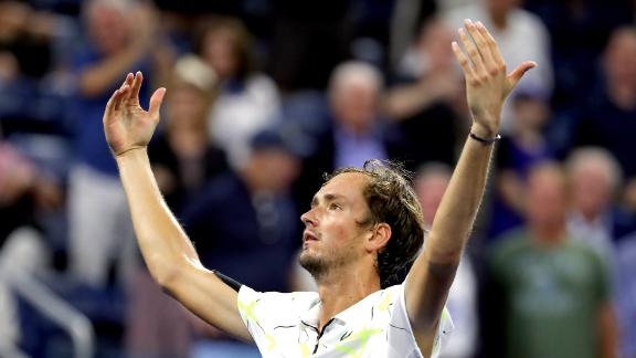 NEW YORK, NEW YORK - SEPTEMBER 01:  Daniil Medvedev of Russia celebrates winning match point during his Men's Singles fourth round match against Dominik Koepfer of Germany on day seven of the 2019 US Open at the USTA Billie Jean King National Tennis Center on September 01, 2019 in Queens borough of New York City. (Photo by Mike Stobe/Getty Images)