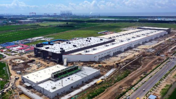 Tesla's Gigafactory under construction in Shanghai, China.