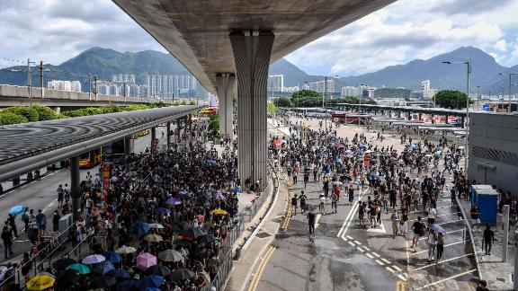 Protesters gather in the bus terminal at Hong Kong International Airport on Sunday, September 1. Hundreds of pro-democracy activists attempted to block transport routes to the city