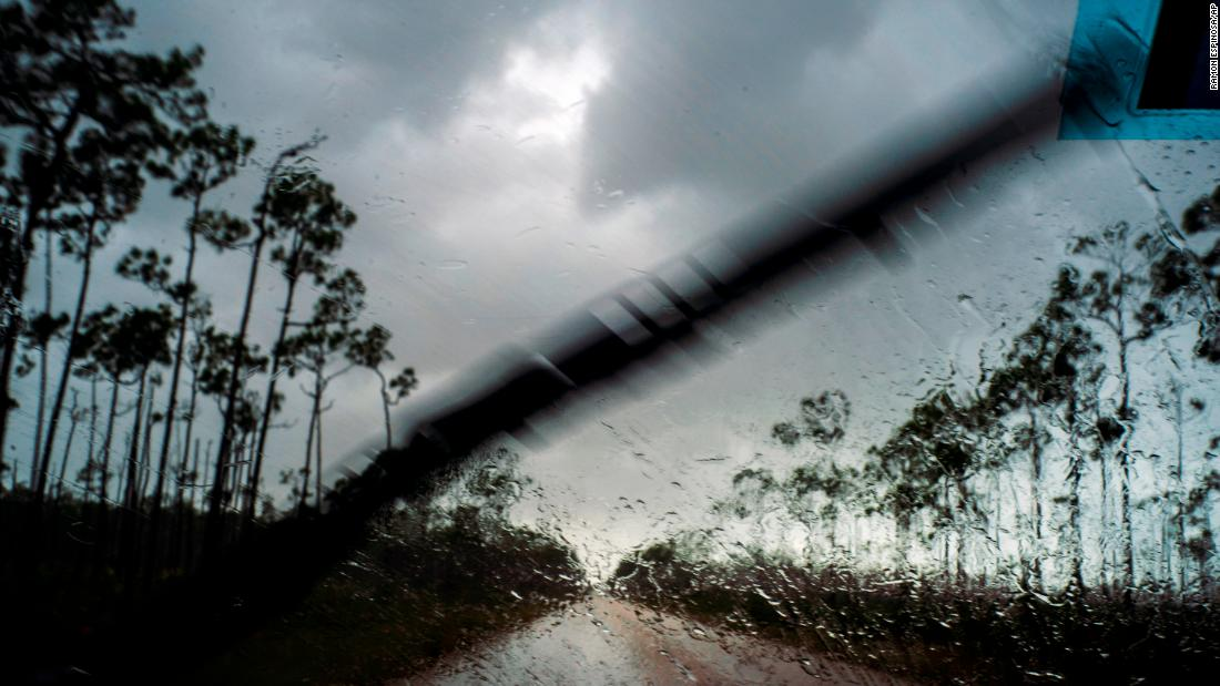 A view outside a car's windshield before Dorian hit Freeport in the Bahamas on September 1.