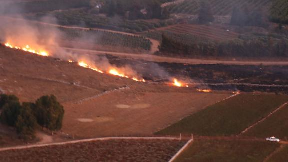 Shortly after the cross-border clashes, Lebanese firetrucks arrived at the scene to put out fires that set parts of the open fields ablaze.