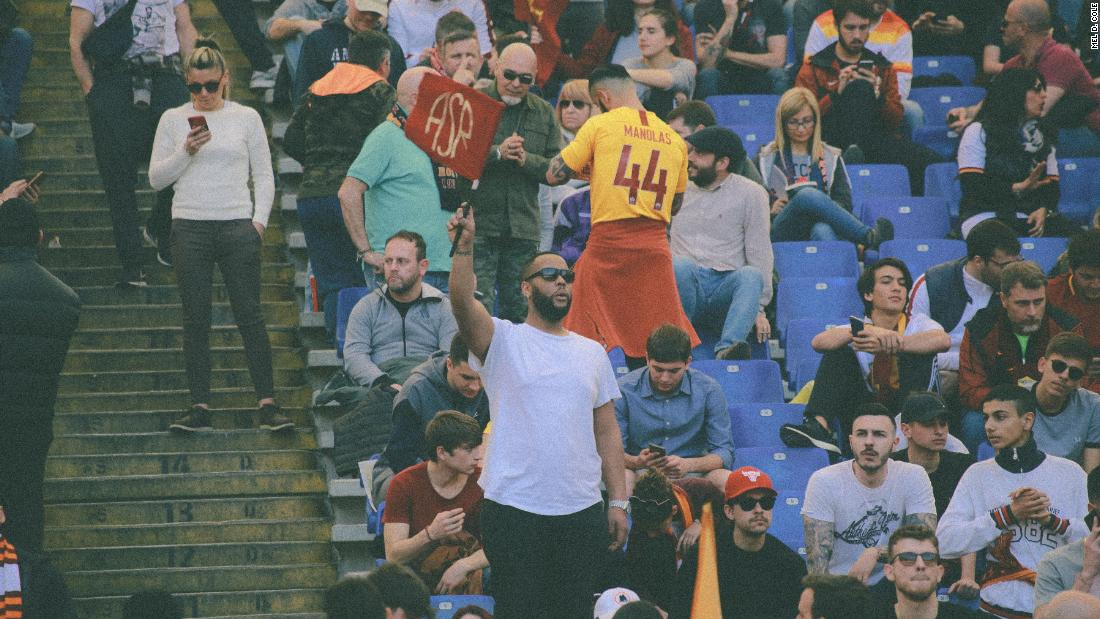 The 43-year-old ohotographer was blown away by the passion in and around AS Roma's Stadio Olimpico. He was keen to use his background to highlight black culture on the pitch and in the stands.