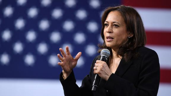 Democratic presidential candidate California Sen. Kamala Harris speaks on April 27, 2019, in Las Vegas, Nevada.