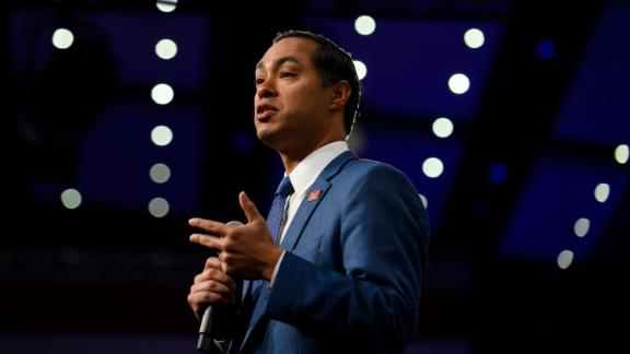 Democratic presidential candidate and former Housing and Urban Development Secretary Julian Castro speaks on stage during a forum on gun safety at the Iowa Events Center on August 10, 2019 in Des Moines, Iowa.