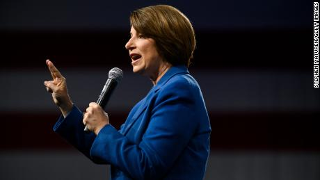 Democratic presidential candidate Sen. Amy Klobuchar (D-MN) speaks on stage during a forum on gun safety at the Iowa Events Center on August 10, 2019 in Des Moines, Iowa.