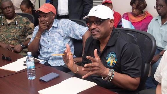 "Agency officials brief Bahamian Prime Minister Hubert Minnis and his cabinet members on September 2. Minnis said many homes, businesses and other buildings have been destroyed or heavily damaged. He called the devastation ""unprecedented and extensive."""
