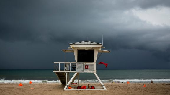 Clouds loom over a lifeguard tower in Fort Lauderdale on September 2.