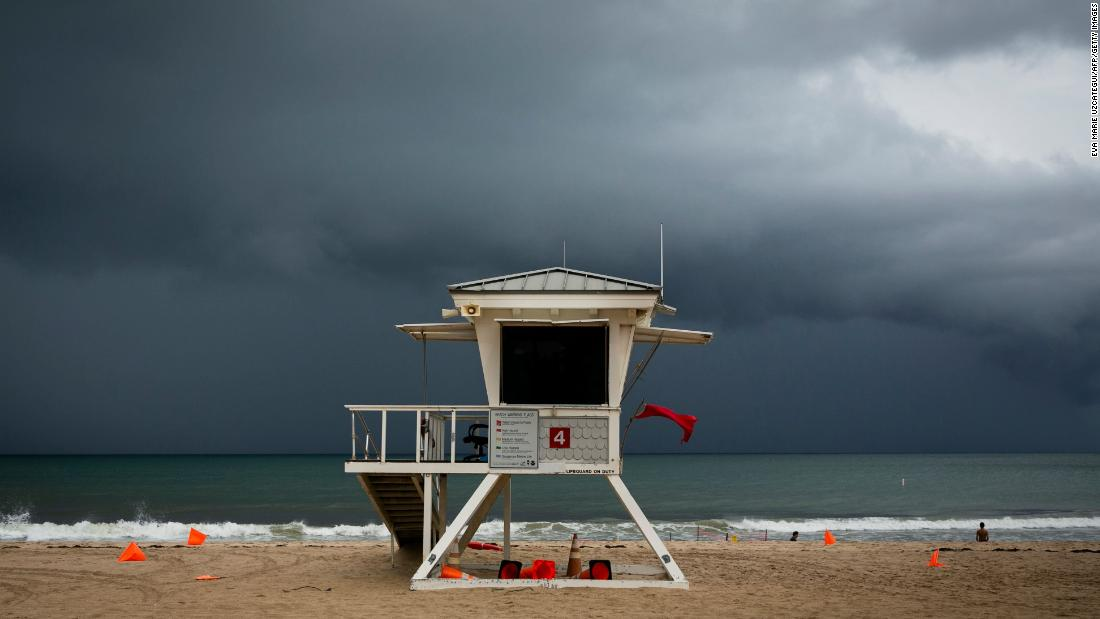 Clouds loom over a lifeguard tower in Fort Lauderdale, Florida, on September 2.