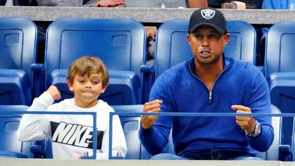 Tiger Woods and his son Charlie Axel Woods cheer on Rafael Nadal at 2019 US Open in New York City.