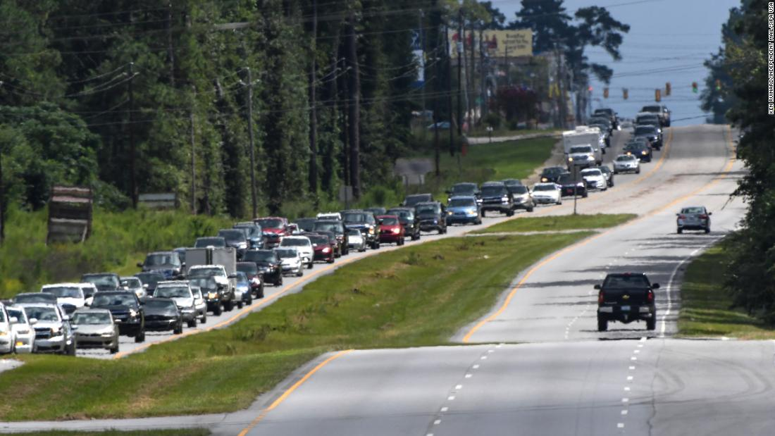Evacuation traffic is seen near South Carolina's coast on September 2.