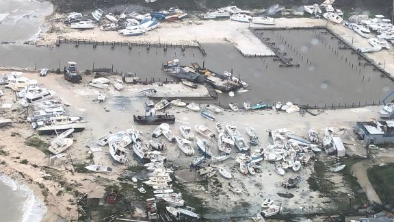 Boats are piled up at a Bahamian port on Monday, September 2.