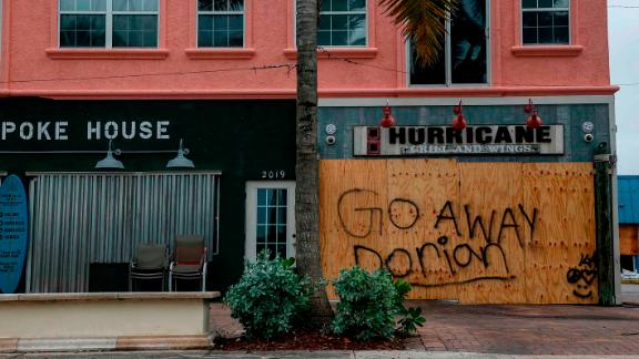 Businesses are shuttered near Jetty Park in Fort Pierce, Florida, on September 2.