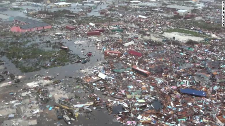 An aerial view of the devastation caused by Dorian on Great Abaco Island in the Bahamas.