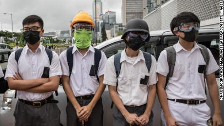 Students take part in a school boycott rally on September 2, 2019, in Hong Kong.