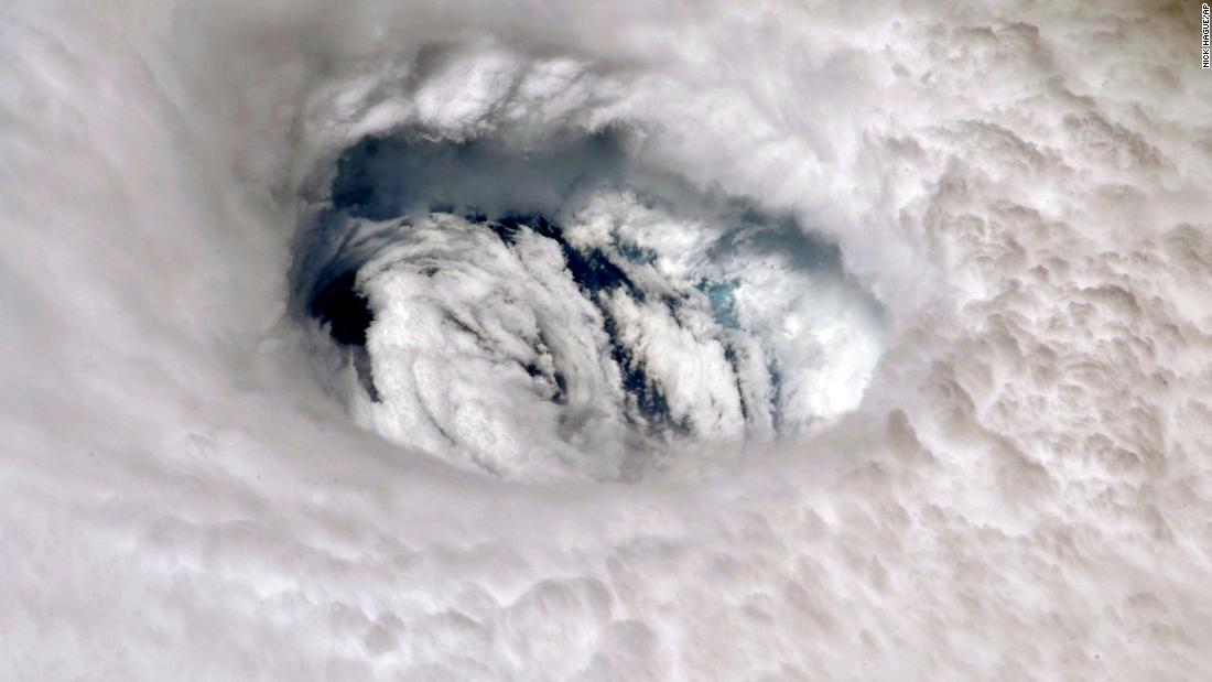 This September 2 photo provided by NASA shows the eye of Hurricane Dorian shown from the International Space Station.