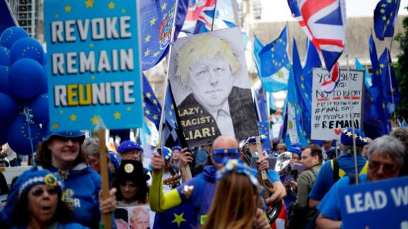 Pro-EU supporters protest outside Parliament on Tuesday.