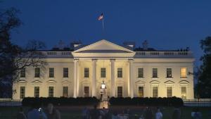WASHINGTON, DC, USA -April, 4, 2017: dusk shot of the north side of the white house in Washington, D.C.