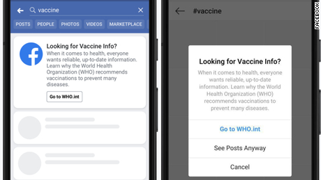 Facebook debuts vaccine education pop-up windows - CNN