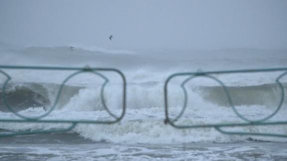 Heavy wind and rain caused by Hurricane Dorian pounds the surf, on September 4, 2019 in Daytona Beach, Florida.