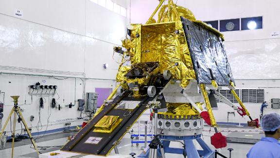 The rover built to land on the lunar surface seen on a ramp moving into the main vehicle of Chandrayaan-2.