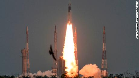 "The Indian Space Research Organisation's (ISRO) Chandrayaan-2 (Moon Chariot 2), with on board the Geosynchronous Satellite Launch Vehicle (GSLV-mark III-M1), launches at the Satish Dhawan Space Centre in Sriharikota, an island off the coast of southern Andhra Pradesh state, on July 22, 2019. - India launched a bid to become a leading space power on July 22, sending up a rocket to put a craft on the surface of the Moon in what it called a ""historic day"" for the nation. (Photo by ARUN SANKAR / AFP)        (Photo credit should read ARUN SANKAR/AFP/Getty Images)"