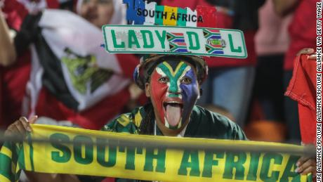 A South African cheers prior to the start of the 2019 Africa Cup of Nations match between Egypt and Bafana Bafana earlier this year.