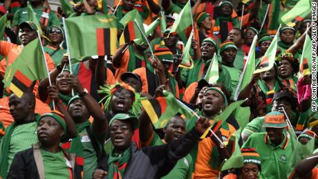 Zambian supporters cheer for their team during the FIFA World Cup 2018 qualifying football match between Nigeria and Zambia in 2017.